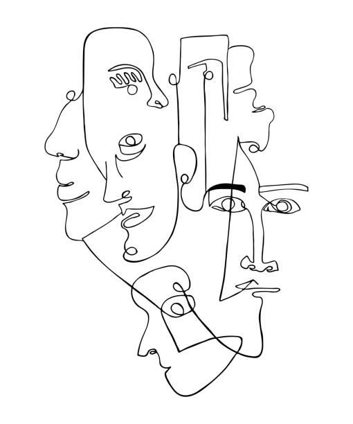 illustrations, cliparts, dessins animés et icônes de affiche moderne avec des visages abstraits linéaires. - art