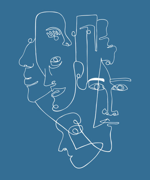 Modern poster with linear abstract faces. Modern poster with linear abstract faces. Continuous line art. One line drawing. Minimalist graphic. modern art stock illustrations