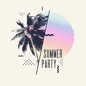 Summer party, Modern poster with palm tree and geometric graphic. Vector illustration.