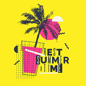 Best summer time. Modern poster with palm tree and geometric graphic. Vector illustration.