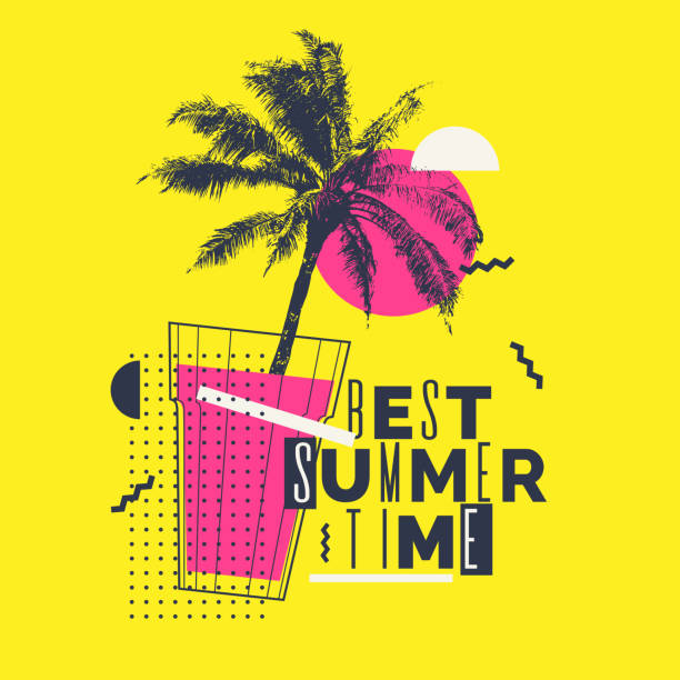 modern poster with palm tree and geometric graphic - alcohol drink patterns stock illustrations