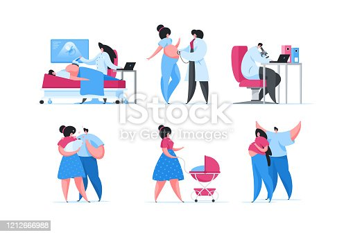 Set of vector illustrations of contemporary pregnant woman visiting fertility clinic and taking care of newborn child after labor with boyfriend. Flat cartoon people vector illustration