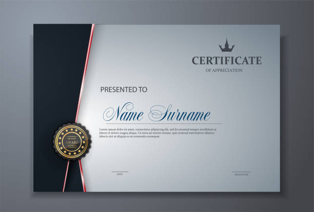 illustrazioni stock, clip art, cartoni animati e icone di tendenza di modern premium certificate award design template - attestato