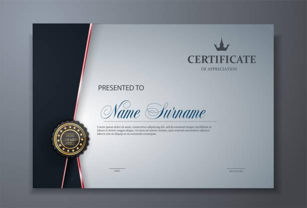 modern premium certificate award design template - certificate and awards frames stock illustrations, clip art, cartoons, & icons