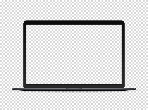 Modern premium laptop vector mockup on transparent background clipart