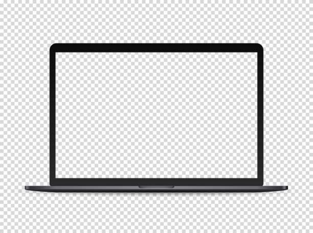 ilustrações, clipart, desenhos animados e ícones de mockup superior moderno do vetor do portátil no fundo transparente - laptop
