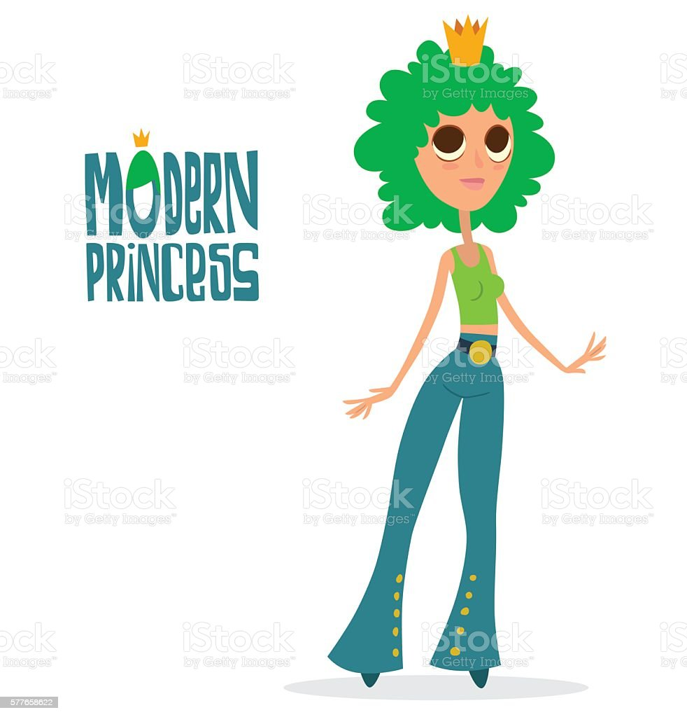 Modern princess with curly green hair vector art illustration