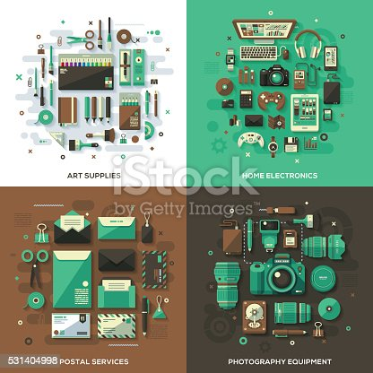 Concept illustrations with flat design-styled vectors themed on art supplies, home electronics, postal services and photography equipment. EPS 10 file, layered & grouped,