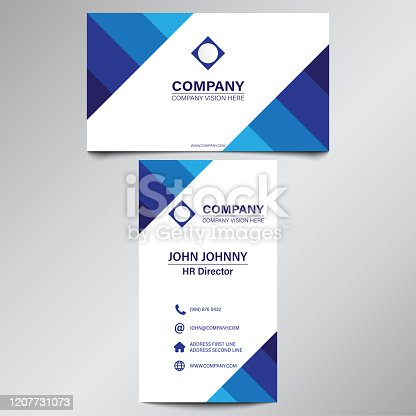 Modern Professional Blue Curve Business Card