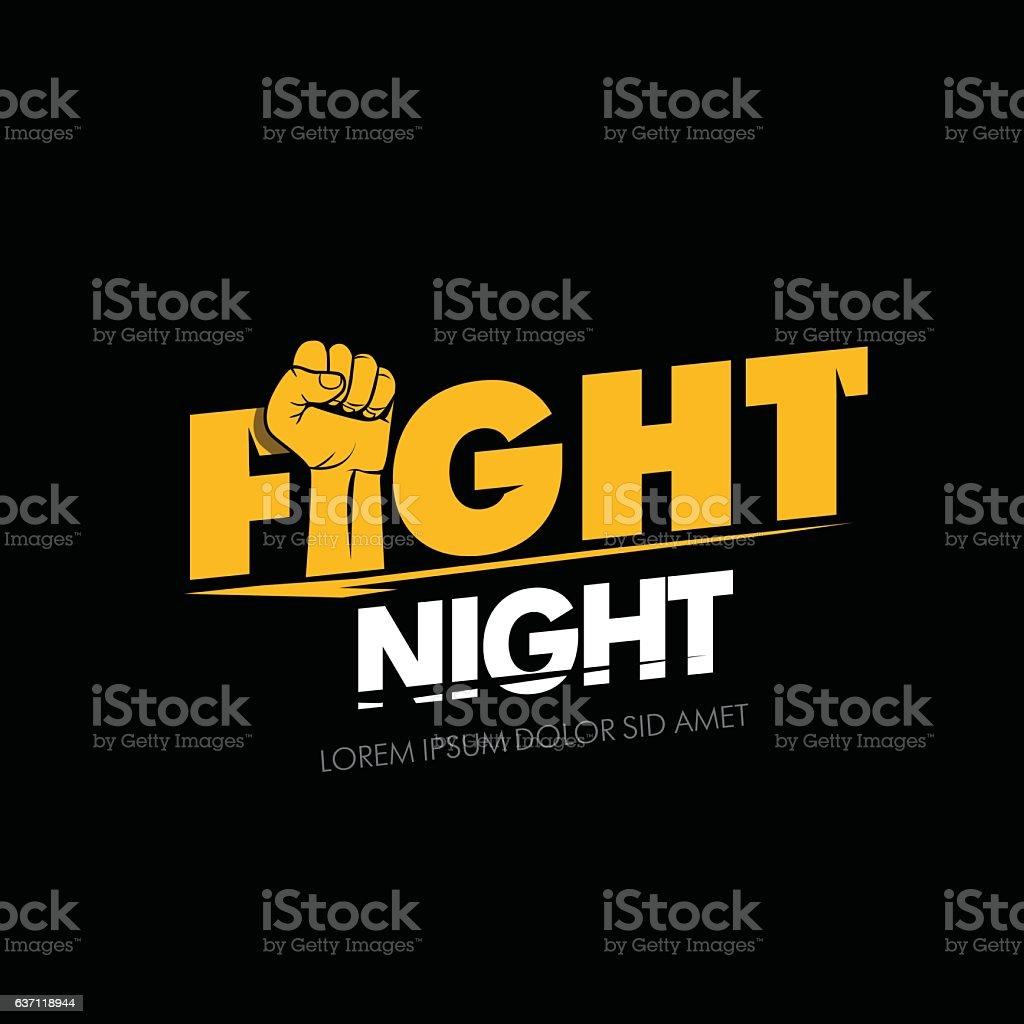 Modern professional fighting poster template logo design with fist. - ilustração de arte em vetor