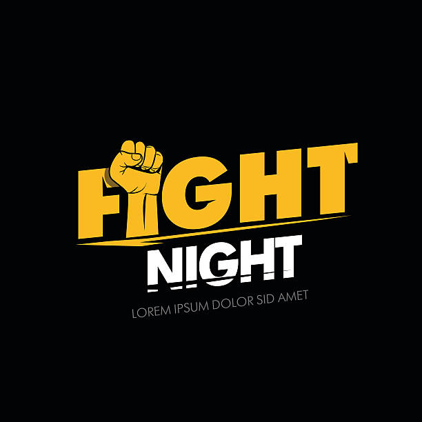 Modern professional fighting poster template logo design with fist. vector art illustration