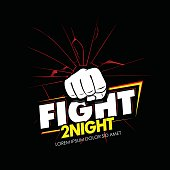 Modern professional fighting poster template logo design with fist.
