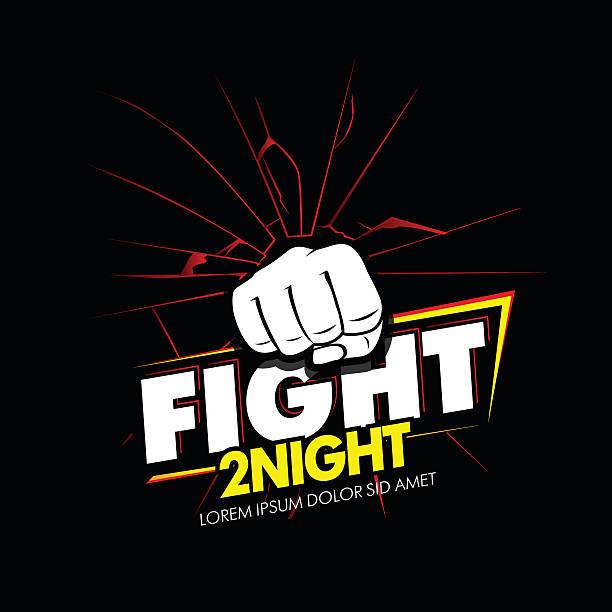 stockillustraties, clipart, cartoons en iconen met modern professional fighting poster template logo design with fist. - mma