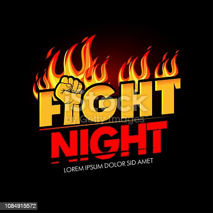 Modern professional fighting poster template  with fist and fire. Isolated vector illustrations.