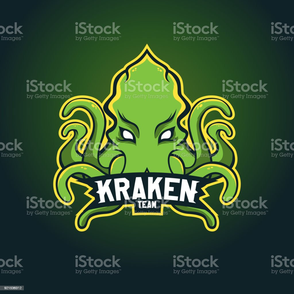Modern professional  for sport team. Kraken mascot. Octopus, vector symbol on a dark background. vector art illustration