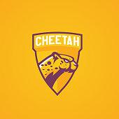 Modern professional logo for sport team. Cheetah mascot. Hepards vector symbol on a light background.