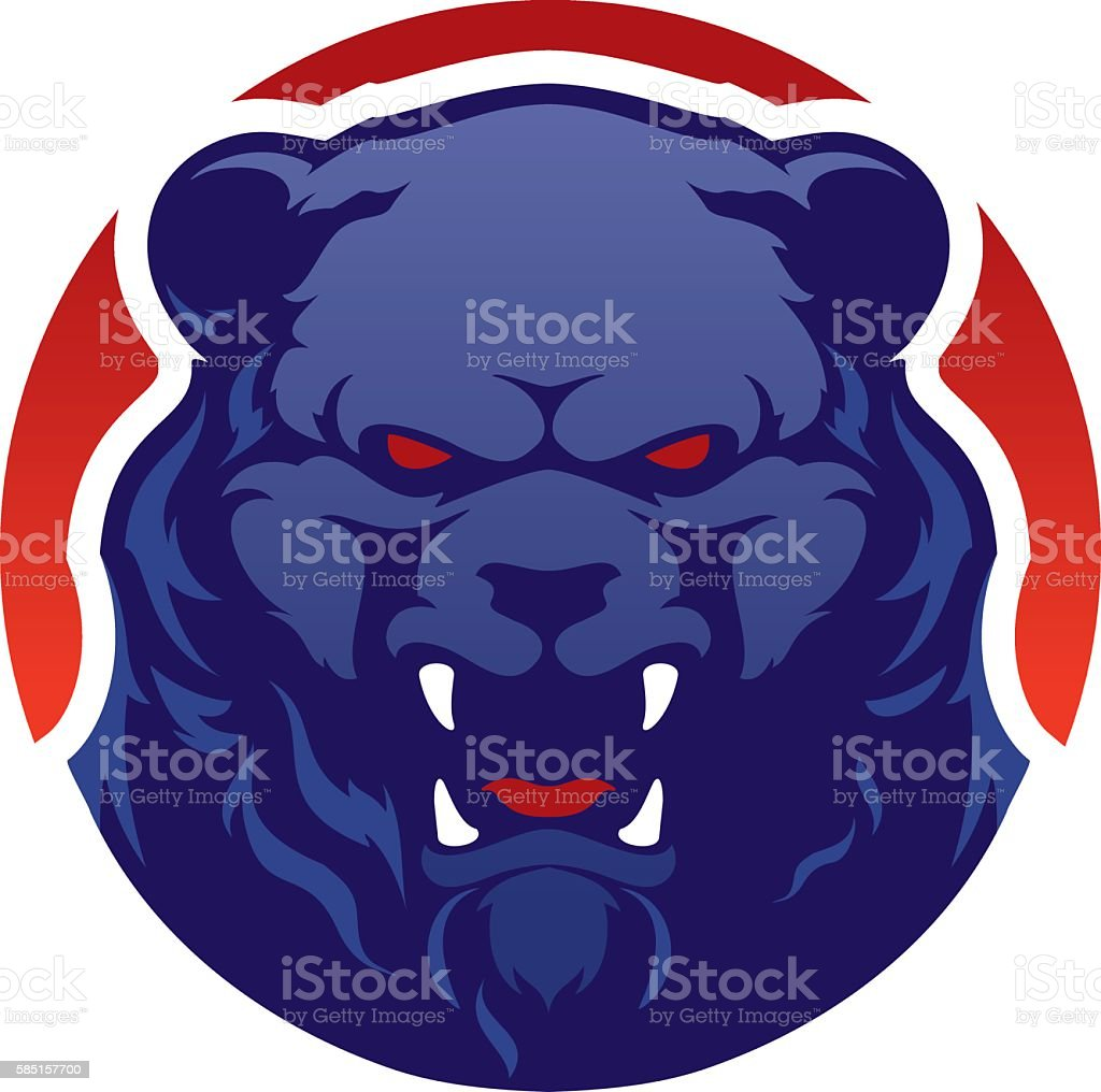 Modern professional logo with grizzly bear for a sport team. vector art illustration
