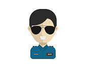 Modern Professional Pilot Avatar Character In Job Uniform