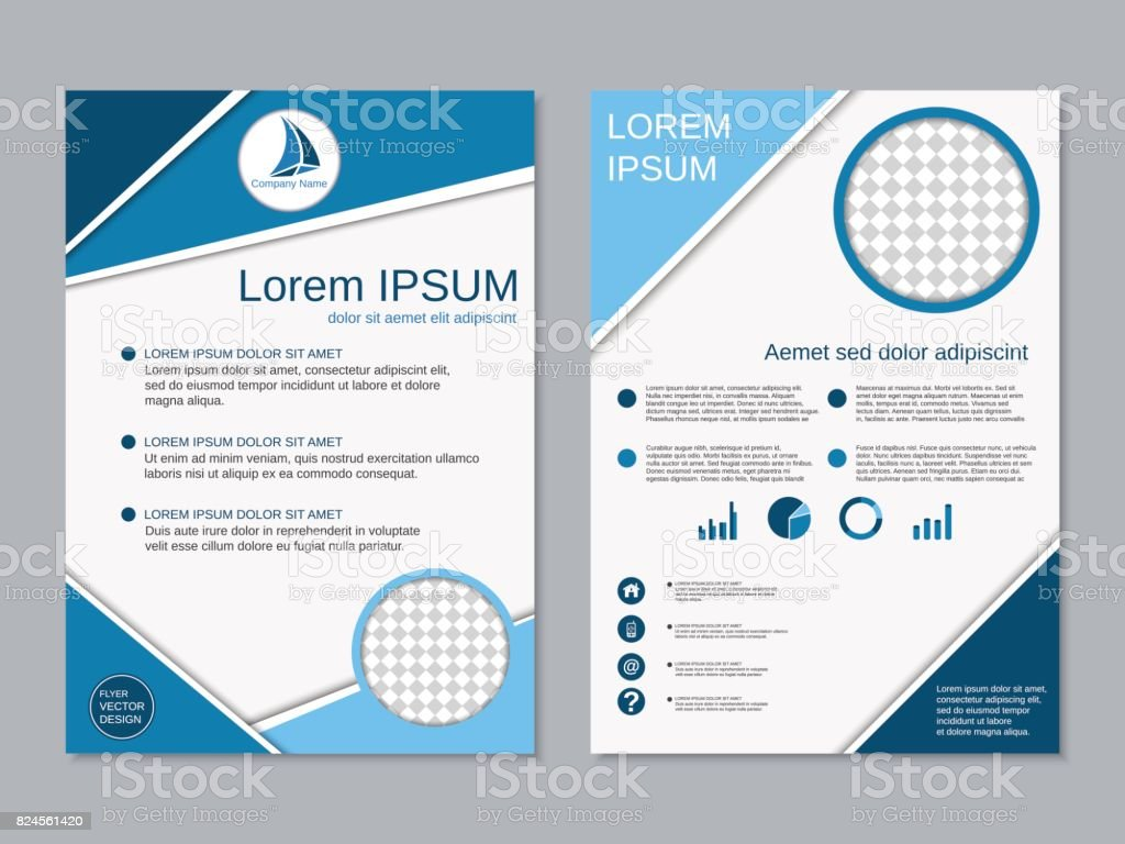 Modern professional two-sided business flyer vector template