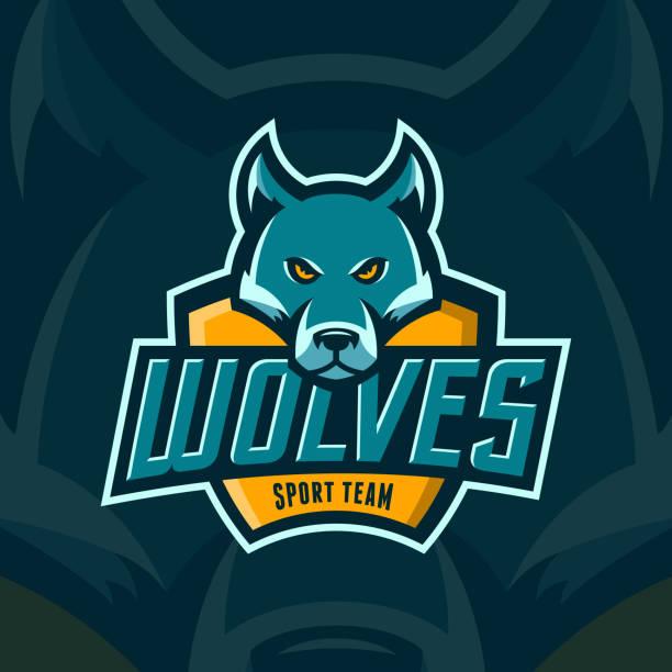 ilustrações, clipart, desenhos animados e ícones de emblema do esporte da equipe lobos profissionais modernos - equipe esportiva