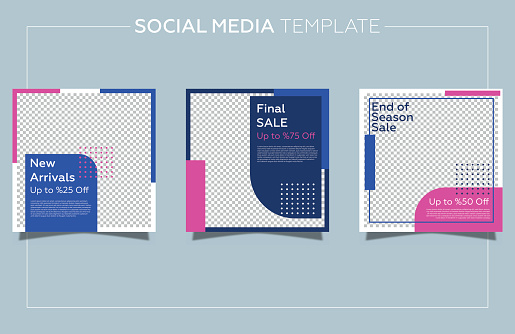 Modern promotion social media post template. Geometric background and neon colors.