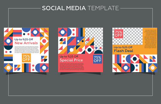 Modern promotion social media post template. Geometric background and colorful