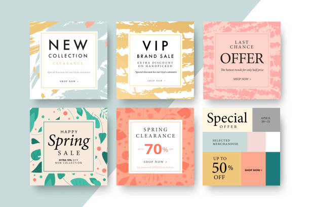 modern promotion square web banner for social media mobile apps. elegant sale and discount promo backgrounds with abstract pattern. email ad newsletter layouts. - email templates stock illustrations
