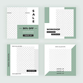 Modern promotion square web banners. Editable templates social media, card, banner, flyer, mobile apps.