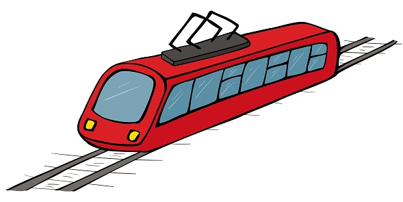 Modern public transport, electric transport on rails, metro tram. Colored isolated object with a dark outline.