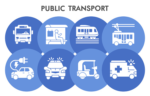 Modern public transport Infographic design template with icons. Public transportation Infographic visualization in bubble design on white background. Creative vector illustration for infographic.