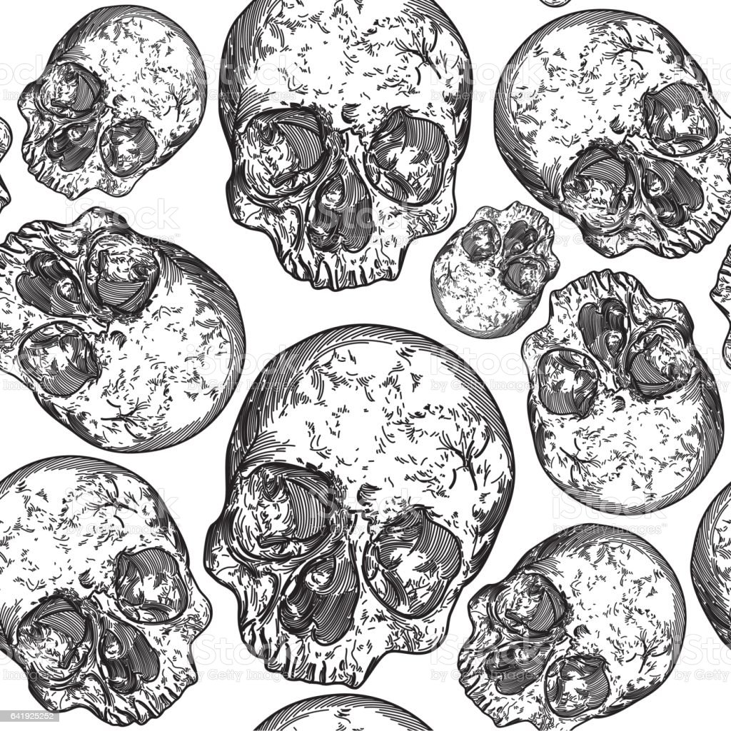 Modern Punk Skull Pattern vector art illustration