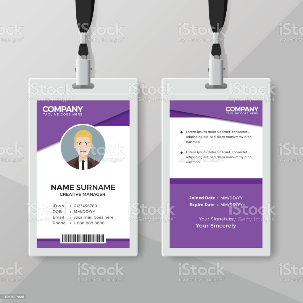modern purple id card design template stock vector art more images