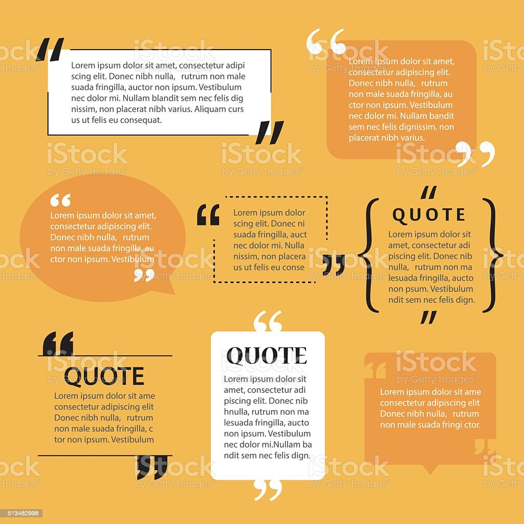 modern quote text template design elements vector art illustration