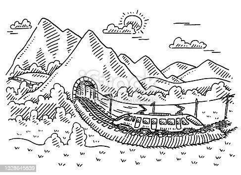 istock Modern Railway Mountain Tunnel Drawing 1328645839