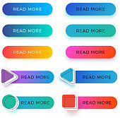 Modern read more color vector buttons isolated. Read more arrow web button banner for website illustration