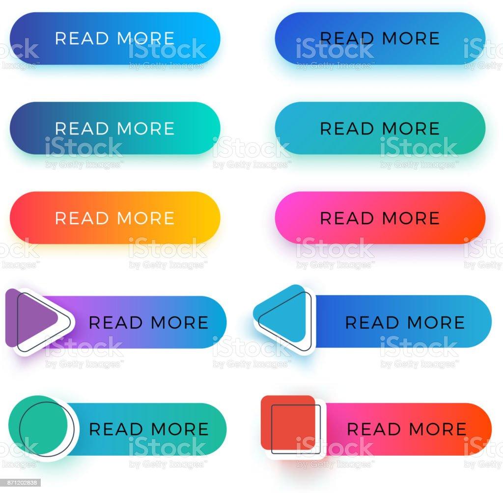 Modernas leer más botones de vector de color aislado - ilustración de arte vectorial