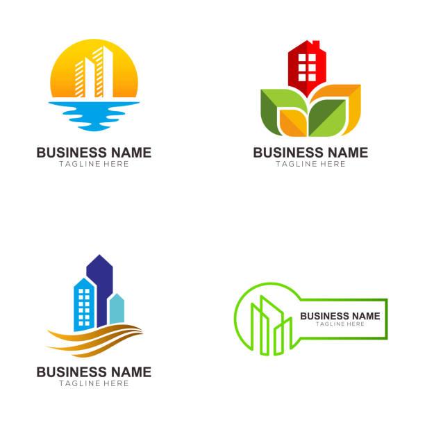 modern real estate template - real estate logos stock illustrations, clip art, cartoons, & icons