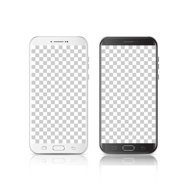 Smartphone blanco y negro realista moderno. Smartphone con aislados sobre fondo transparente. 3D ilustración de vector de teléfono celular. - ilustración de arte vectorial