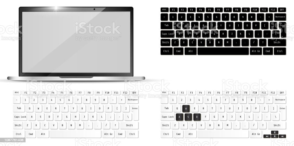 Modern realistic laptop and keyboards. Notebook  Mockup. Vector illustration.