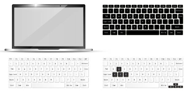 Modern realistic laptop and keyboards. Notebook  Mockup. Vector illustration. Modern realistic laptop and keyboards. Notebook  Mockup. Vector illustration. computer keyboard stock illustrations