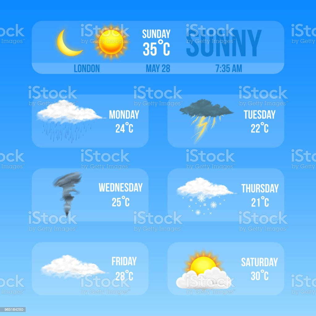 Modern Realistic weather icons set. Meteorology symbols on blue background. Color Vector illustration for mobile app, print or web. Thunderstorm and rain, clear and cloudy, storm and snow royalty-free modern realistic weather icons set meteorology symbols on blue background color vector illustration for mobile app print or web thunderstorm and rain clear and cloudy storm and snow stock illustration - download image now