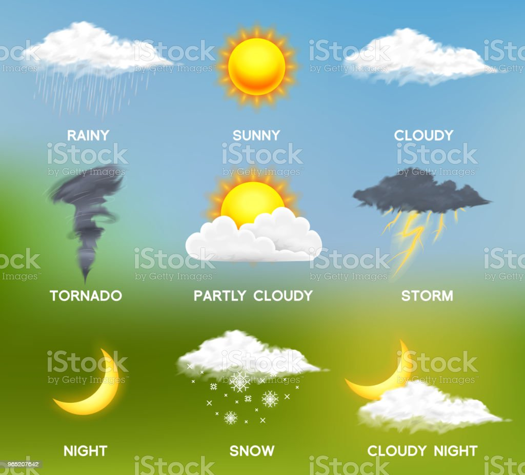 Modern Realistic weather icons set. Meteorology symbols on colored background. Color Vector illustration for mobile app, print or web. Thunderstorm and rain, clear and cloudy, storm and snow royalty-free modern realistic weather icons set meteorology symbols on colored background color vector illustration for mobile app print or web thunderstorm and rain clear and cloudy storm and snow stock vector art & more images of computer graphic