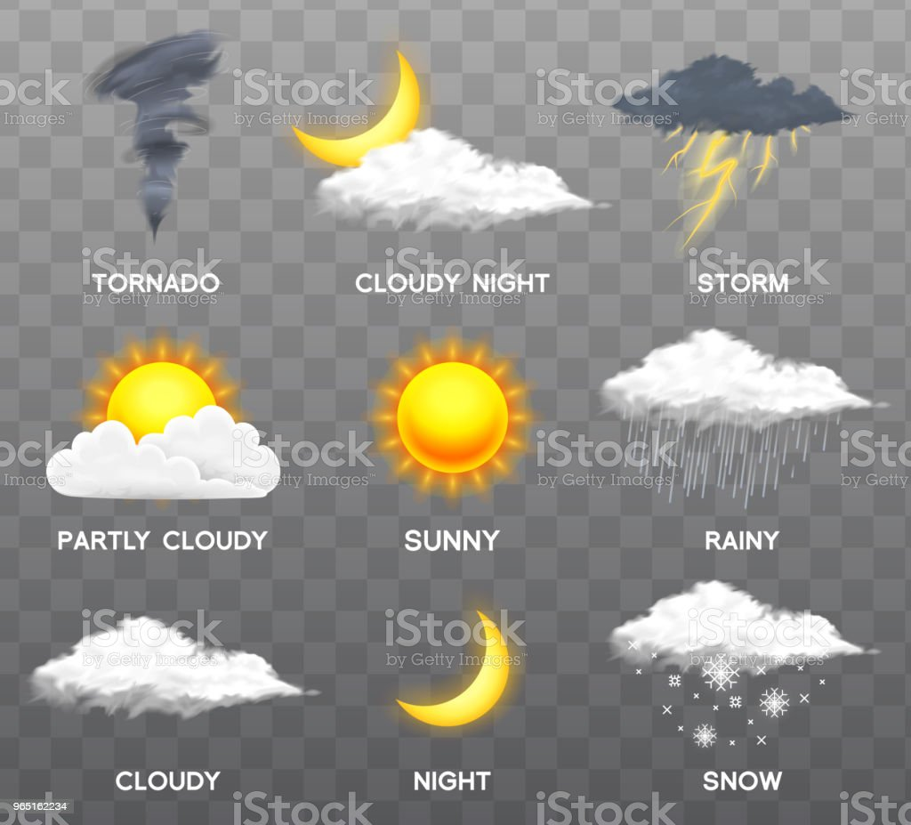 Modern Realistic weather icons set. Meteorology symbols on transparent background. Color Vector illustration for mobile app, print or web. Thunderstorm and rain, clear and cloudy, storm and snow modern realistic weather icons set meteorology symbols on transparent background color vector illustration for mobile app print or web thunderstorm and rain clear and cloudy storm and snow - stockowe grafiki wektorowe i więcej obrazów bez ludzi royalty-free