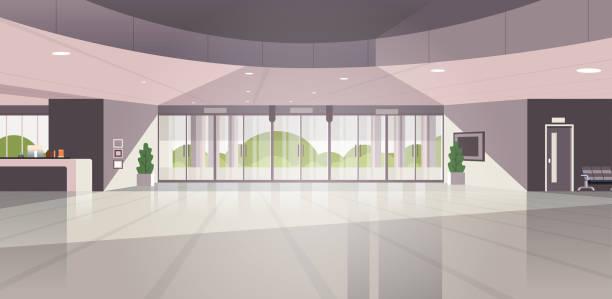 современная зона регистрации пустая нет людей лоббировать современный интерьер гостиничного зала плоский горизонтальный - hotel reception stock illustrations