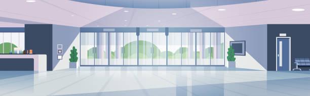 современная зона приема пустой нет людей лоббировать современный интерьер гостиничного зала плоский горизонтальный баннер - hotel reception stock illustrations