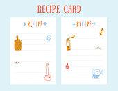 Modern Recipe card template for cookbook. Menu Vector Illustration.