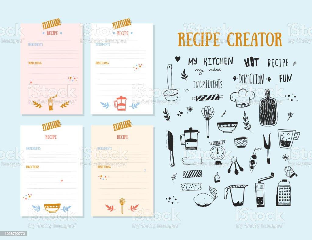 modern recipe card template set for cookbook menu creator