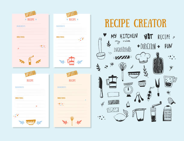 Modern Recipe card template set for cookbook. Menu Creator Vector Illustration Modern Recipe card template set for cookbook. Menu Creator Vector Illustration. cooking borders stock illustrations