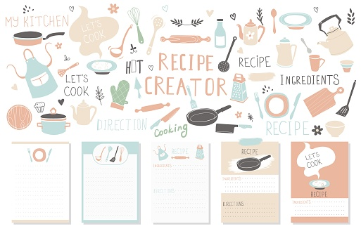 Modern Recipe card template set for cookbook. Menu Creator Vector Illustration