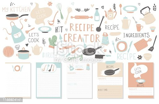 Modern Recipe card template set for cookbook. Menu Creator Vector Illustration